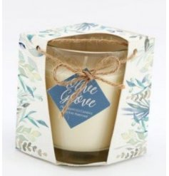 A sweetly scented candle from the Olive Grove Range, sure to bring a delightful aroma to any space