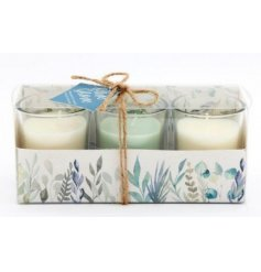 A sweetly scented set of wax filled candles complete with a pretty printed presentation box
