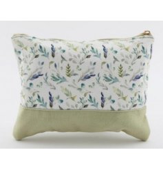 A chic and stylish fabric zip up bag with a charming Olive Grove leaf print and pretty green tones
