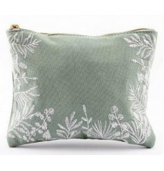 A chic and stylish fabric zip up bag with a charming Olive Grove leaf embroidered decal and soft green tone