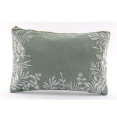 Perfect for when travelling, this lush Green toned makeup bag features a beautiful embroidered floral decal and gold zi