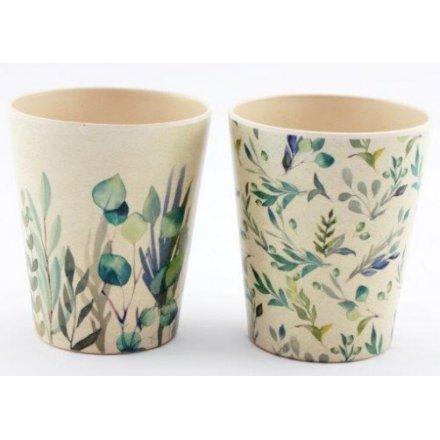 Green Leaf Printed Bamboo Cups, 10cm