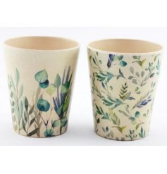 An assortment of eco friendly bamboo based cups each with a charming blue and green Olive Grove leaf decal