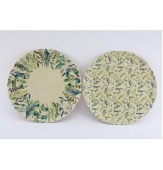 An assortment of eco friendly bamboo based plates each with a charming blue and green Olive Grove leaf decal