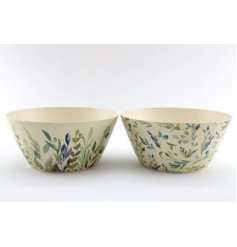 A mix of Spring Inspired decorated bamboo bowls with blue and green leaf hues and decals