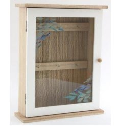 A natural wooden box featuring a glass window door and added hooks inside