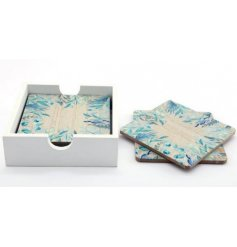 A set of wooden coasters featuring a charming Olive Grove inspired printed decal