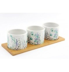 A natural wooden plank complete with 3 ceramic based pots each decorated with a trendy Olive Grove Leaf print