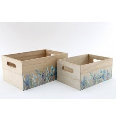 An assorted sized set of natural wooden crates, both decorated with green hues and an Olive Grove decal