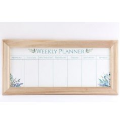 A large wooden framed Weekly Planner set with a charming Olive Grove decal to it