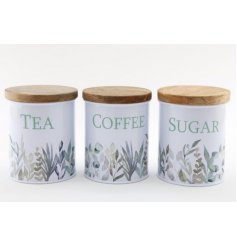 An assortment of Tea, Coffee and Sugar Canisters each decorated with a charming blue and green hued Olive Grove decal