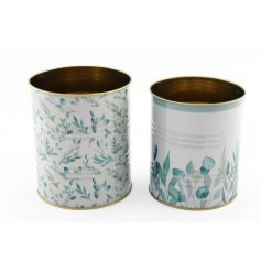 An assortment of sized storage tins each decorated with a charming blue and green hued Olive Grove decal