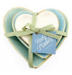 Assorted by their pretty colours and sizes, these small heart trinket dishes also display pretty golden edges