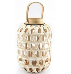 A chic and simple woven lantern complete with natural wooden accents and a neutral colour tone