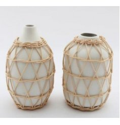 A beautifully simple themed assortment of ceramic vases, covered with a wrapped rattan inspired decal