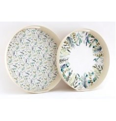 this assortment of round serving trays are sure to bring a hint of spring to your kitchen space