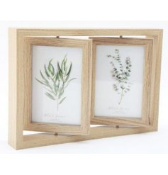 A natural wooden framed display set with swivelling 4x6inch frames