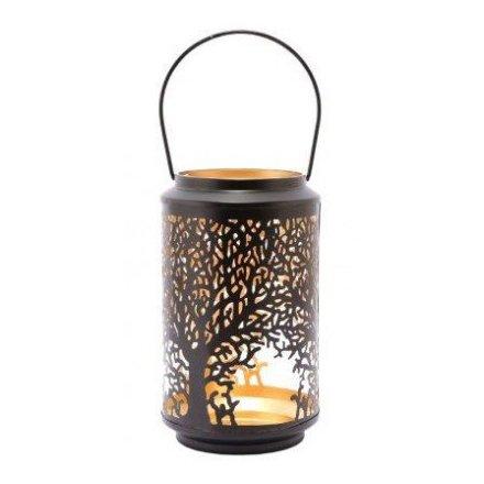 Metal Lantern With Tree Decal, 25cm