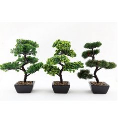 Sure to bring a contemporary charm to any space of your home, a potted artificial bonsai tree