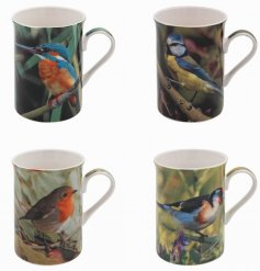 A charming assortment of fine china mugs, each decorated with a colourful bird design
