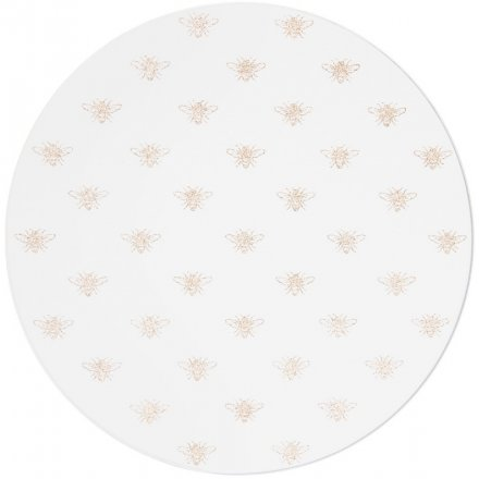 A beautifully mirrored candle plate with golden bee decals