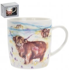 A charming watercolour inspired Highland Cow printed mug complete with a grey gift box