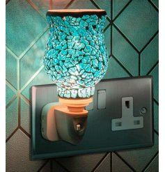 Desire Aroma Plug In - Blue Mosaic   A plug in powered Desire Aroma Dispenser with a beautiful mosaic blue decal and sof