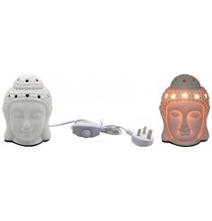 A buddha inspired Aroma Wax Burner with a warm glowing LED Centre and sleek white inspired tone