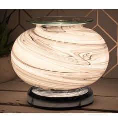 A beautifully decorated Desire Aroma Lamp with a sleek grey marble effect with a white glowing hue