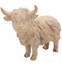 a delightful little highland cow ornament set with a driftwood inspired decal