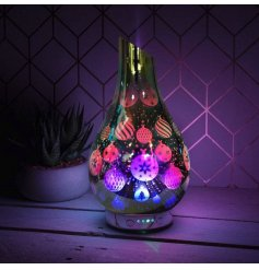 LED Glass Humidifier featuring an illustrated Christmas Bauble Scene