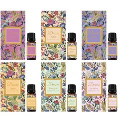 A gorgeously scented assortment of Aroma essential oils packaged within beautifully patterned gift boxes