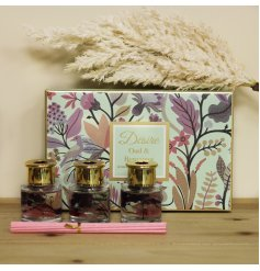 Sure to bring a delightful aroma and charming look to your home, a set of 3 sweetly scented diffusers