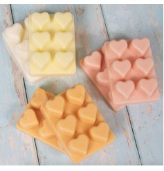 6 assorted sweetly scented heart wax melts