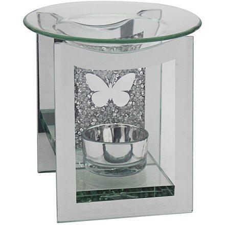 Butterfly Crystal Oil Burner, 13cm