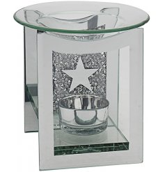A square glass oil burner with added tlight holder, covered with a silver mirrored decal and a glitzy crystal back scen