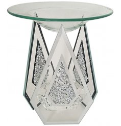 Sleek glass mirrored wax warmer with glitter crystal decals.