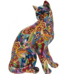 Decorative Cat Sitting Ornament with a quirky and groovy print