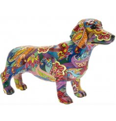 Decorative Dachshund Ornament with a quirky and groovy print