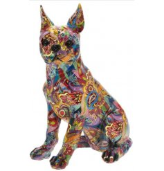 Decorative Bulldog Ornament with a quirky and groovy print