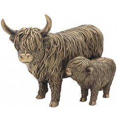 Part of the beautiful Leonardo Range of Reflections Bronzed Ornaments, a pair of charming little highland cows