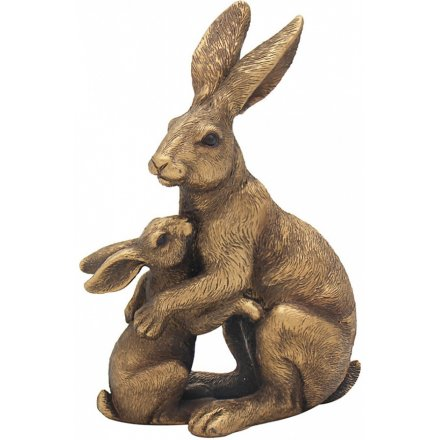Bronze Reflections Hare & Baby