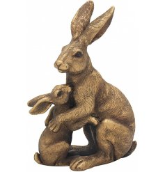 Add a Country Charm inspired edge to any home space or display with this beautifully decorated Bronzed Hare and baby Fig