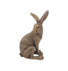 Beautiful and composed sitting bronzed hare that is sure to compliment any living space