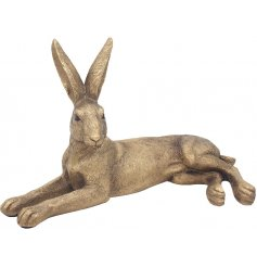 Beautiful and Poised Bronzed Lying Hare That Is Sure To Add Character To Any Home