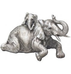This beautiful silvered posed elephant and calf ornament will look perfect in any home space with a similar coloured set