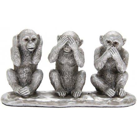 3 Wise Monkeys Silver Ornament