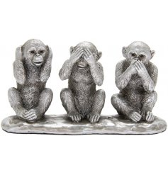 Perfect for adding to any home space with a Luxe edge, a large decorative set of posed Monkeys from the Silver Art Rang