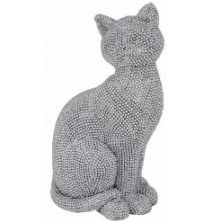 A gorgeously glitz themed sitting cat ornament set with a silver tone and glittery twinkle