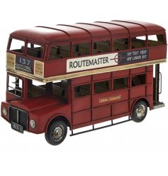 A small sized vintage London Bus ornament complete with realistic features and a distressed finish